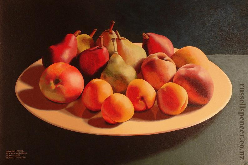 Apricots Pears Peaches Nectarine by artist Russell Spencer