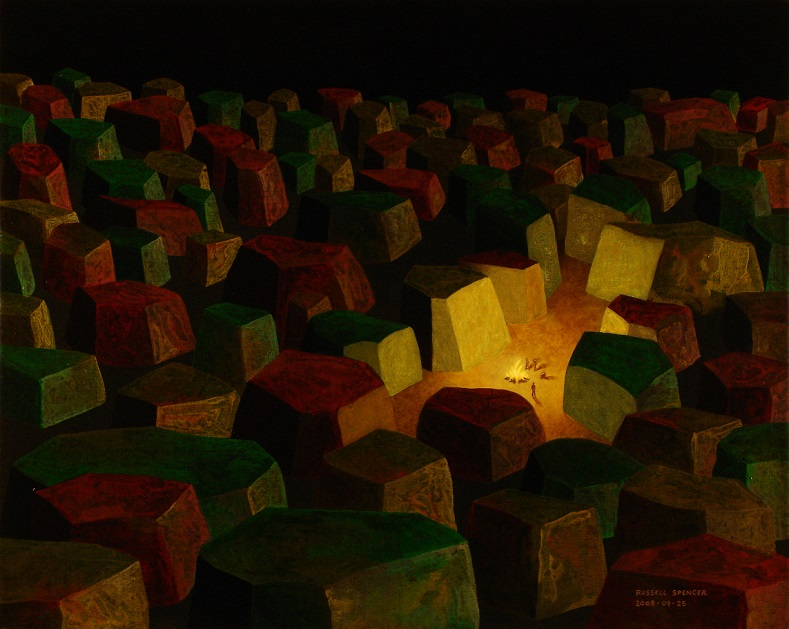 People In The Wilderness At Night - painting by artist Russell Spencer