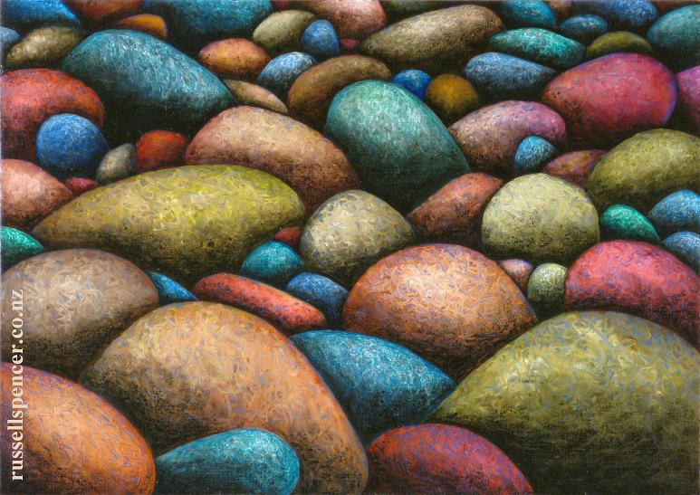 Rocks 2 - painting by artist Russell Spencer