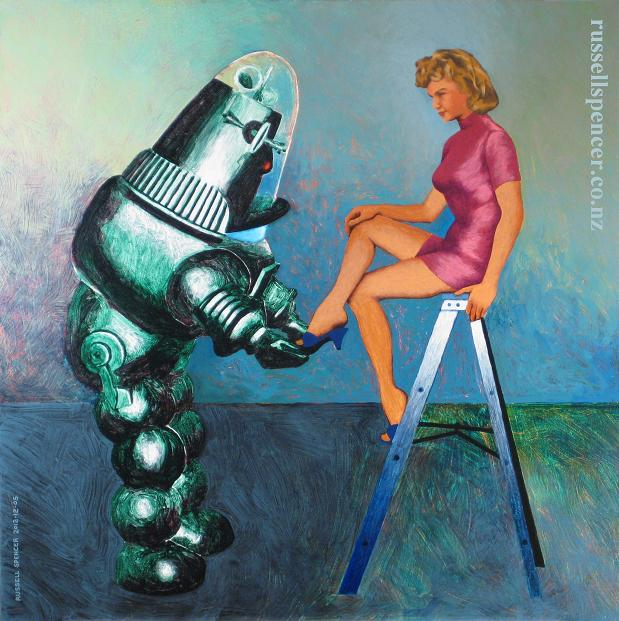 Painting of Robbie the Robot and Altaira from 1956 film Forbidden Planet by artist Russell Spencer