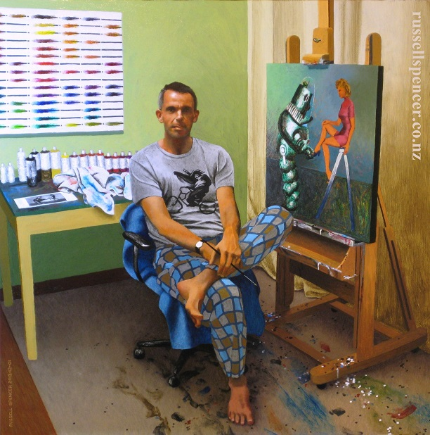 Self-Portrait In Best Painting Trousers by artist Russell Spencer